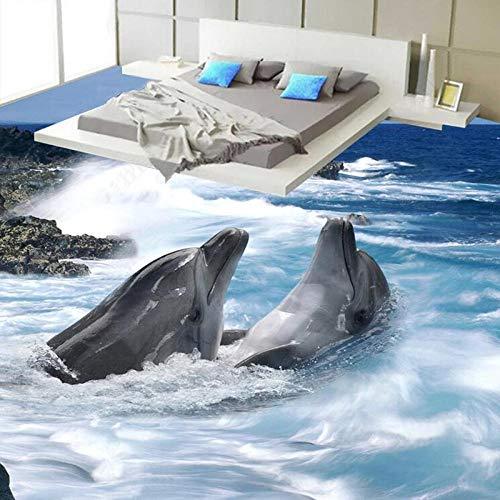 PVC zelfklevende waterdichte vloer behang 3D stereo dolfijnen zeezicht muurschildering badkamer slaapkamer 3D-tegels vloer muurschildering PVC Sticker 250 x 175 cm.