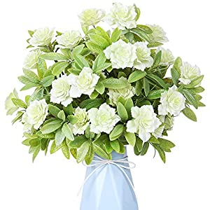 YILIYAJIA Artificial Flowers Fake Plastic Gardenia Faux Floral Bouquets Greenery Plants Bushes Outdoor UV Resistant for Home Office Table Outside Decoration