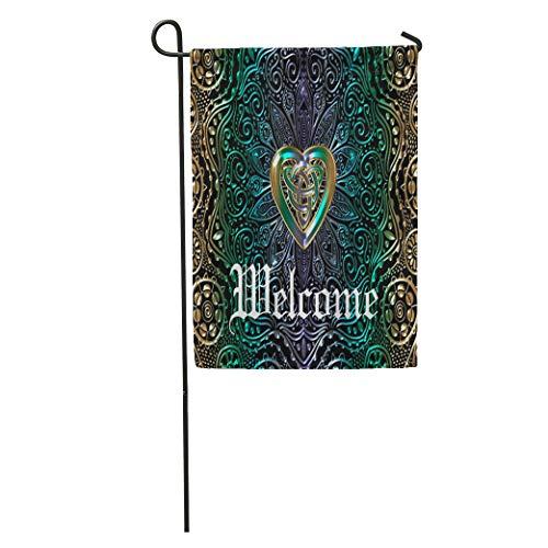 Ablitt Garden Flags 12' x 18' Knot Celtic Heart Mandala in Green Celt Outdoor Decorative House Yard Flag