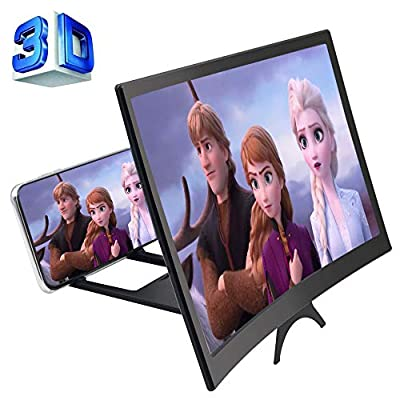 GLISTON 12'' 3D Phone Screen Enlarger, Curved Screen Magnifier for Cell Phone, HD Screen Amplifier, Folding Screen Magnifier for Movies, Videos, Gaming by GLISTON