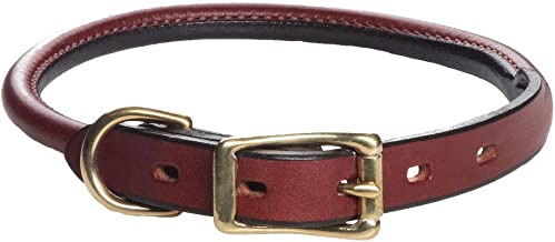 "product image for Mendota Products Leather Rolled Collar - Chestnut - 3/4"" x 22"""
