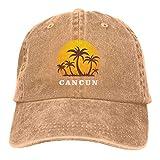 XCNGG Cancún México Sunset and Palm Trees Beach Sombreros de Vaquero Unisex Sombrero de Mezclilla Deportivo Gorra de béisbol de Moda Negro