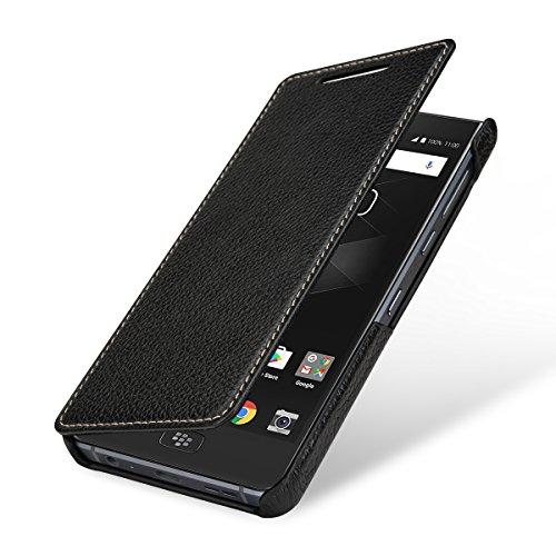 StilGut Book Type Lederhülle für BlackBerry Motion. Seitlich klappbares Flip-Hülle aus Echtleder, Schwarz