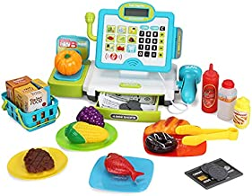 FS Pretend Play Calculator Cash Register Toys with Scanner, Large Draw, Microphone, Play Food, Supermarket Cashier, Great Pre-School Gift for Kids, Toddlers, Boys & Girls, Ages 3 4 5 6 7 8