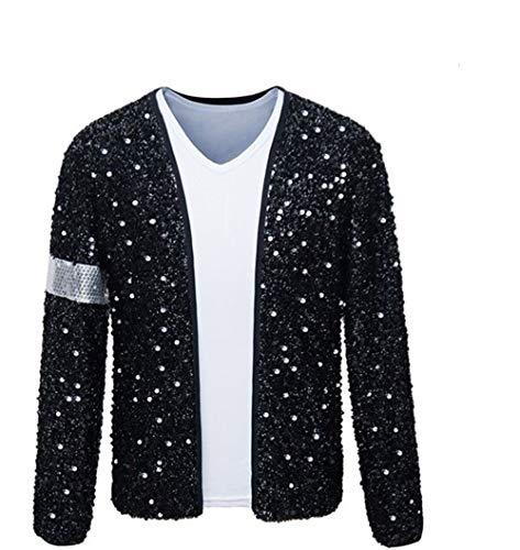 Shuanghao Erwachsene Kind TOP Michael Jackson Jacke Billie Jean Jacke Tanz Cosplay Jackson Kostüm (Give Glove) (W:30kg-35kg H:130-140cm, Kinderjacke)