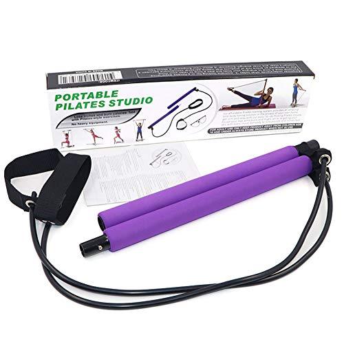 Barra de Pilates portátil con Banda de Resistencia, Barra de Ejercicio de Yoga Pilates Stick Yoga con Bucle de pie para Entrenamiento de Cuerpo Completo, fácil de Usar.