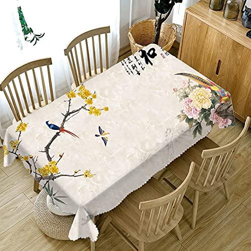 XXDD Mantel Rectangular con Estampado de Flores pequeñas en Relieve 3D Fondo Simple Mantel Lavable a Prueba de Polvo A2 140x140cm