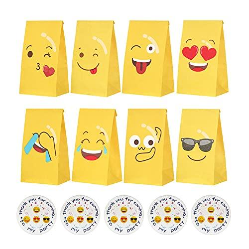 Partytüten, 48 Stück Candy Tüten Emoji Papiertüten Bunt Geschenktüten Papier Candy Tüten mit 48 Aufklebern Kleine Papiertasche zum Verpacken von Geschenken, Kindergeburtstag, Ostern, Hochzeit, Party