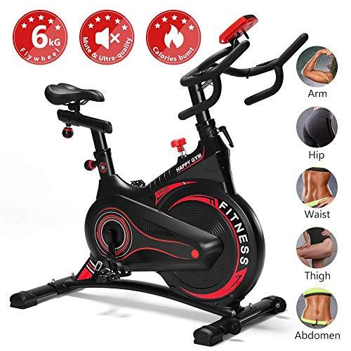 Fnova Bicicleta estática de Spinning Indoor, Volante de inercia de 6kg, Pantalla LCD, Ajustable Manillar y Asiento, Fitness Bicicleta