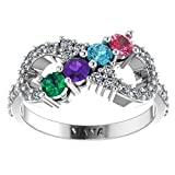 NANA Silver Infinity Mothers Ring with 1 to 6 Simulated Birthstones - Sterling Silver - Size 7
