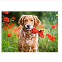 500ピース犬を待っている花を摘む子供のためのジグソーパズルジグソーパズル大規模なパズルゲーム