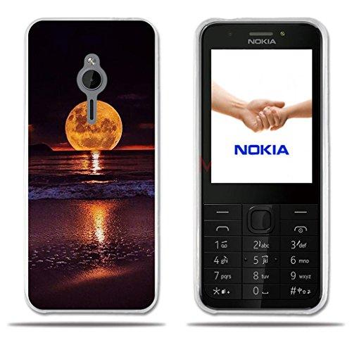FUBAODA für Nokia 230 Hülle, [Mond] Transparente Silizium Clear TPU 3D zeitgenössische Chic Fashion Kreative Minimalistische Nette Eule Design Hybrid Schock Absorbing für Nokia 230