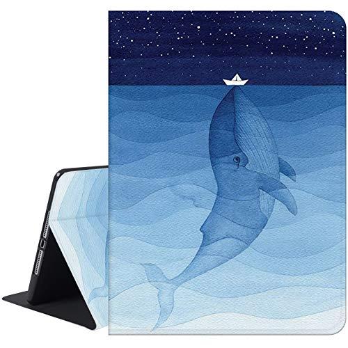 Richyun iPad 5th & 6th Generation Case, iPad 9.7 Case 2017 & 2018, iPad Air 1 & 2 Case, Adjustable Stand Auto Wake Sleep Protective Folio Leather Case (Whale)