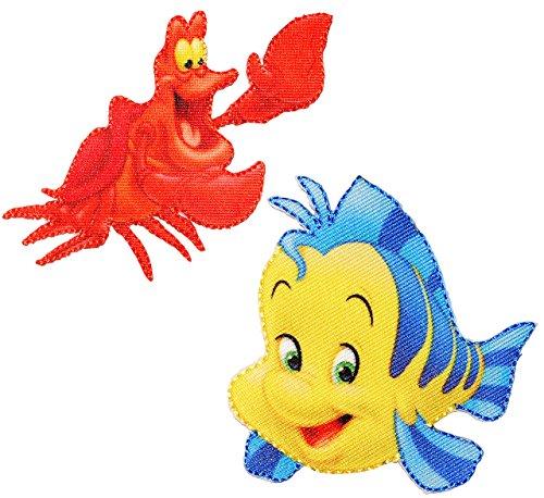 alles-meine.de GmbH 2 TLG. Set: Bügelbilder -  Disney - Arielle die Meerjungfrau / Krabbe Sebastian & Fisch Fabius  - Aufnäher Applikation - Fische / Krabben - Krebs - gewebter..