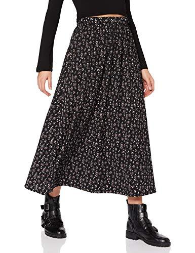 ONLY Damen ONLZILLE NAYA Maxi Skirt JRS Rock, Black/AOP:LAVENDER DITSY, S