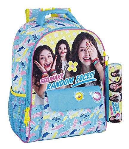 Soy Luna 611676704 Faces Mochila Escolar, 43 cm, Azul