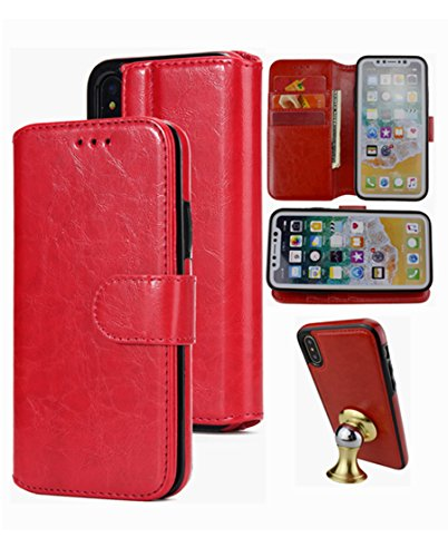 iPhone Xs/X Wallet Case,Detachable Leather Hynice Phone Purse with Card Slots Holder Kickstand Removed Slim Cover Build in Metal Plate for Magnetic Car Mount fit iPhoneXS/X (Car-red)