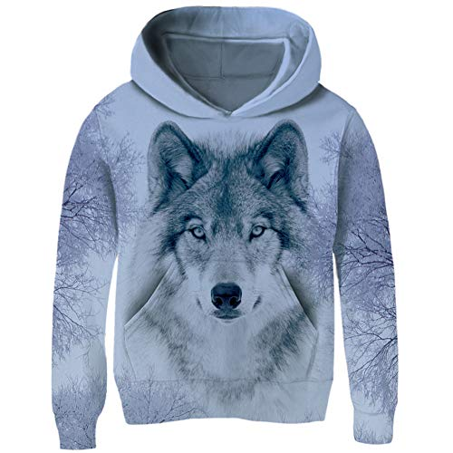TUPOMAS Kids Funny Pullover Hoodies 3D Graphic Printed Sweatshirt Lone Snow Wolf Coat with Pockets Long Sleeve Size 6-7 Years Old