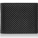 Portafogli da uomo in pelle sottile bifold - minimalista Mens portafoglio RFID blocco carta titolare con finestra ID Box regali per gli uomini, Carbonfiber nero (Nero) - 1301-Black-Carbonfiber-UK