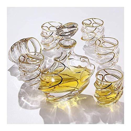 Productos para el hogar Estante para botellas Estante para vino Soporte para copas de vino Juego de decantador de whisky de 7 piezas 100% sin plomo Licor de garrafa Vasos a la moda Vasos para whisky e