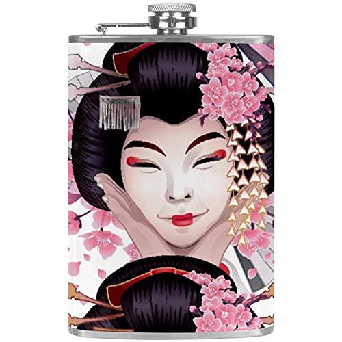 Petacas de Alcohol Mujer japonesa Petacas de Licor Acero Inoxidable 227ml Frasco de Whisky Botella de bolsillo Con embudo 9.2x15cm