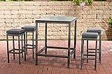 CLP Polyrattan Gartenbar-Set Alia 5mm I Rundrattan Gartenmöbel-Set Mit Tisch Und 4 Barhockern Inkl. Sitzkissen I, Farbe:grau-meliert, Polsterfarbe:Anthrazit