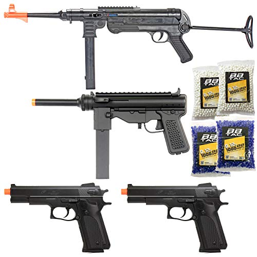 BBTac Airsoft Gun Package - World War II Collection of 4 Airsoft Guns, Spring Rifles and Pistols, 4000 BB Pellets, Great for Starter Pack Game Play
