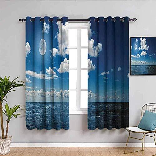Nileco Cortinas de Opacas - Azul cielo mar paisaje - 160x160 cm - 3D Impresión Digital con Ojales Aislamiento Térmico - para Sala Cuarto Comedor Salon Cocina Habitación