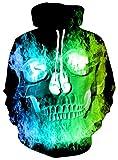 Loveternal Felpa Uomo 3D Felpe con Cappuccio Unisex Cranio Hoodies Manica Lunga Sweatshirt Leggere con Tasche M