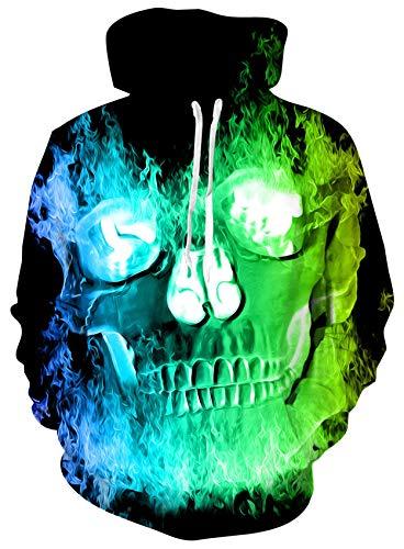 Loveternal Schädel Hoodie Männer 3D Druck Kapuzenpullover Langarm Sweatshirt für Frauen Männer mit Kordelzug M