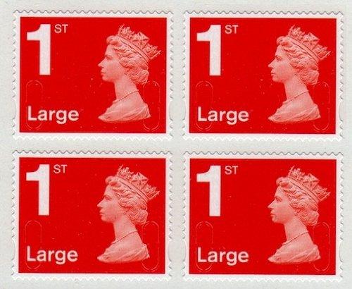4 x 1 ST Class 2013 groß rot Machin Definitive Booklets Selbstklebende Präsentation Stempel zum Sammeln