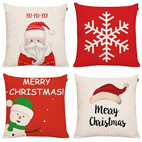 4 Pack Christmas Throw Pillow Cover Holiday Decor Snowman Red Car Xmas Trees Wreath Farmhouse Chrismtas Trees Pillow Cover Cuhion Cover Case for Couch Sofa Home Decoration Pillows Linen 18 X 18 Inches