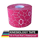 TheraBand Kinesiology Tape, Waterproof Physio Tape for Pain Relief, Muscle & Joint Support, Standard Roll with XactStretch Application Indicators, 2 Inch x 16.4 Foot Roll, Pink/White