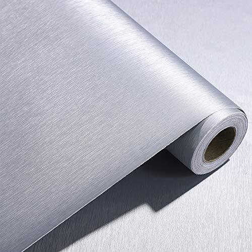 PROHOUS 60 * 500CM 0,3mm Dick PVC Silber Klebefolie Metallic Folie Verdickte Dekorfolie für Möbel Geschirrspüler Edelstahl Küchenfolie Selbstklebende Gebürstet Möbelfolie Kühlschrank Folie