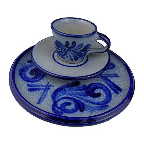 ISDD Espressoset mit Dessertteller, handgeblautes salzglasiertes Steinzeug, grau blau Geschirr, traditionelle Westerwälder Motive