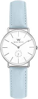 Welly Merck Women's Watch Ultra Thin 36MM Stainless Steel Swiss Quartz Movement Luxury Minimalist Wrist Watch with Leather Strap,Sapphire Crystal