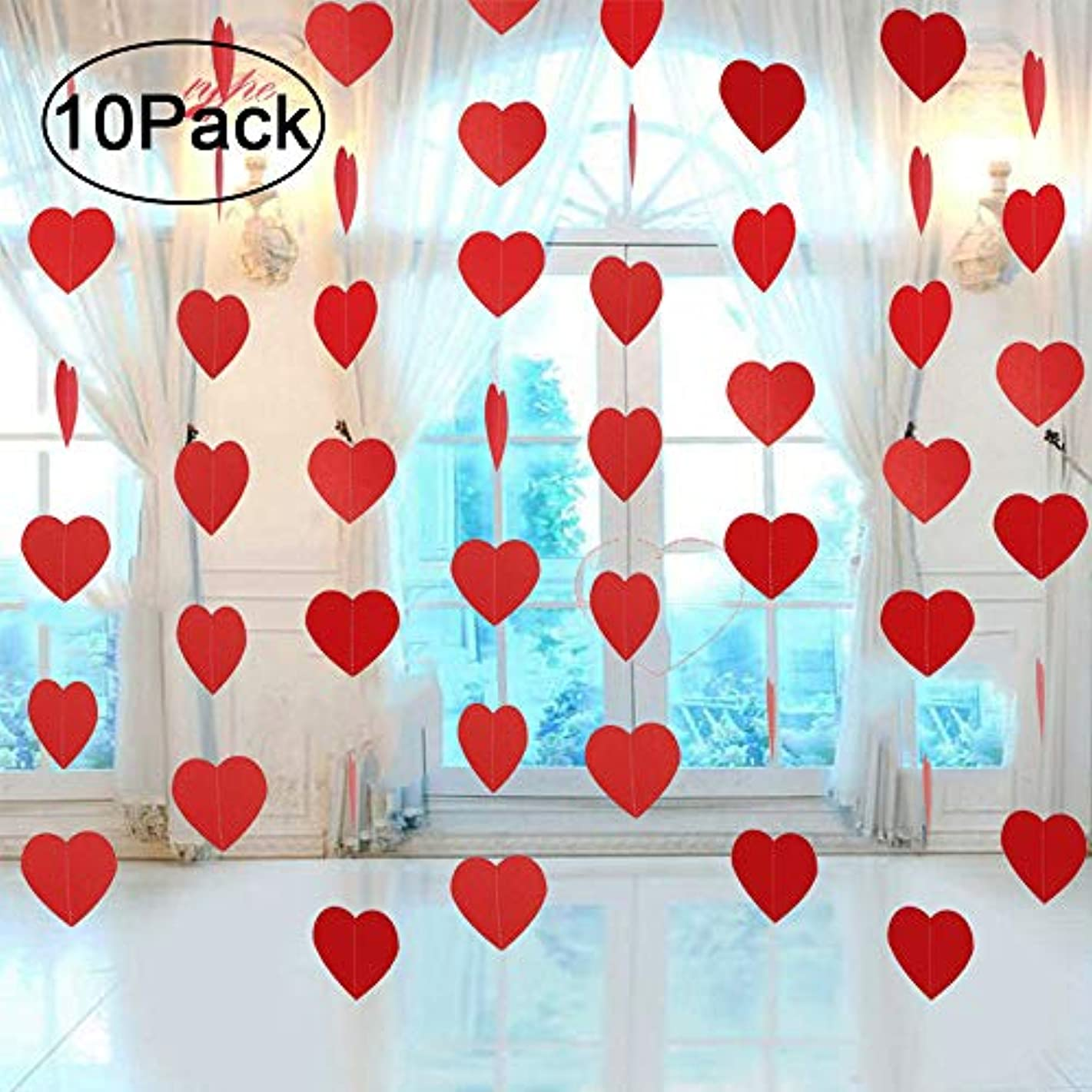 Ontop 10 Pack Valentine's Day Heart Hanging Decorations Garland Banner - Wedding Party Backdrop Decor Supplies …