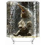 AnazoZ Duschvorhang Badewannevorhänge Elefant Wasserdicht Anti-Schimmel inkl. 12 Vorhanghaken für Badezimmer Wohnaccessoires Set Badewanne 180x180cm