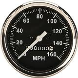 Speedometer Gauge, Black Face, 3-3/8, Mechanical