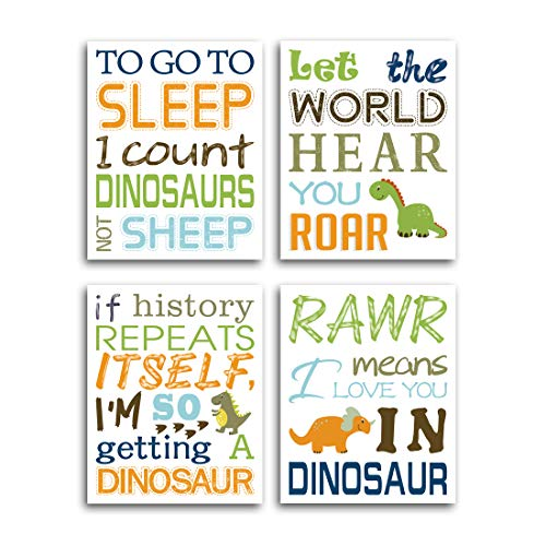 "Watercolor Inspirational Lettering Quote Wall Art Print Set of 4 (8""X10"" Wildlife Animal Dinosaur Typography Canvas Poster for Kids Baby Bedroom Or Classroom Room Decor, No Frame"