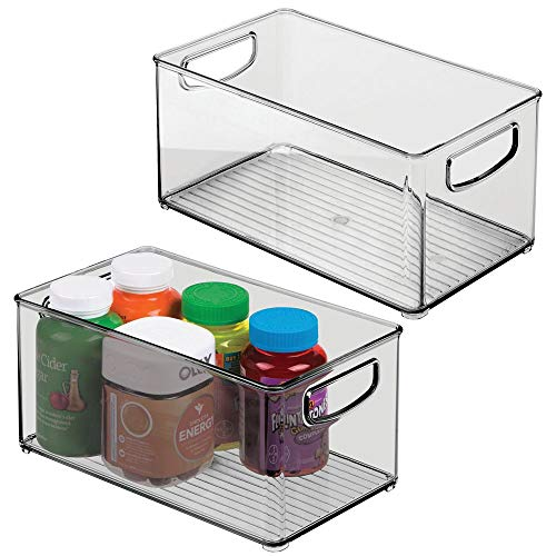 """mDesign Deep Plastic Storage Bin with Handles for Organizing Hand Soaps, Body Wash, Shampoos, Lotion, Conditioners, Hand Towels, Hair Accessories, Body Spray, Mouthwash - 10"""" Long, 2 Pack - Smoke Gray"""