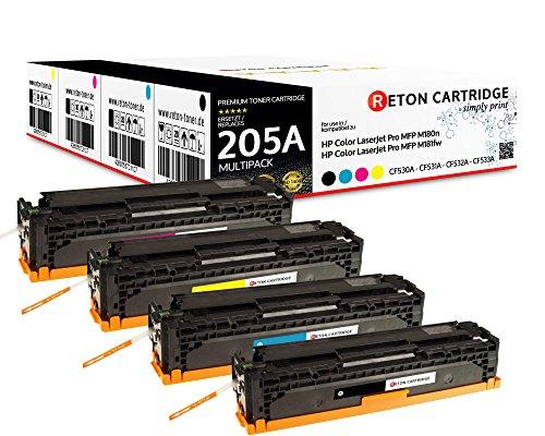 Set van 4 originele retrotoners, 30% hogere printprestaties, compatibel met HP 205A, CF530A, CF531A, CF532A, CF533A, voor HP Color Laserjet Pro MFP M180n M181fw