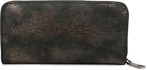 styleBREAKER Geldbörse mit genarbter Oberfläche im Antik Metallic Look, umlaufender Reißverschluss, Portemonnaie, Damen 02040091, Farbe::Dunkelgrau/Rosegold