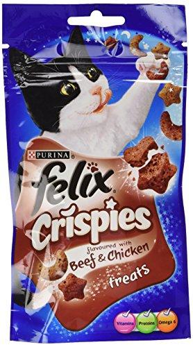 Felix - Snacks de la gama Crispies sabor a carne de vaca y pollo para gatos (8 Paquetes) (8 x 45g) (Puede Variar)