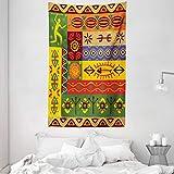 ABAKUHAUS Africano Tapiz de Pared y Cubrecama Suave, Gente étnica del Oeste de África, Objeto Decorativo Lavable, 140 x 230 cm, Multicolor