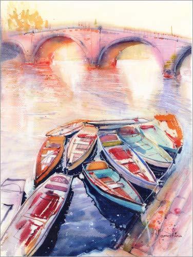 Posterlounge Cuadro de Aluminio 70 x 90 cm: Boats on The Seine de Anastasia Mamoshina
