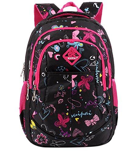 Happy Cherry Schulrucksack Blumen Schulranzen Schultasche Sports Rucksack Freizeitrucksack Daypacks Backpack für Mädchen Jungen Kinder Damen Herren Jugendliche-Schwarz+Rosa