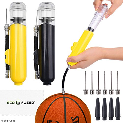 Eco-Fused 2X Pompe per Palloni - Super Compatte - Doppia Azione (Pompa Aria Quando Spingi e Tiri) - per Palloni Sportivi (Pallacanestro, Calcio, Football, Pallavolo, ECC.) e Gonfiabili