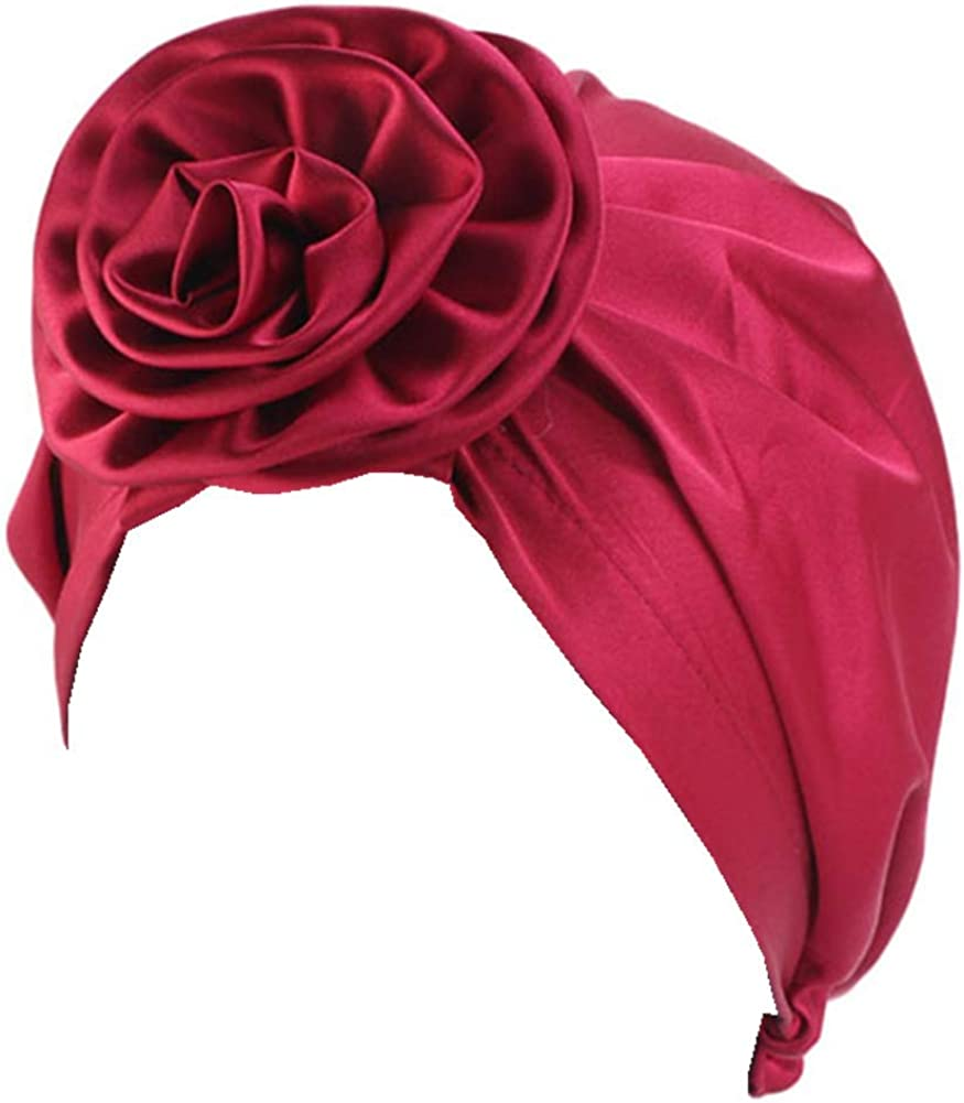 CCCHO Women's Satin Complete Free Shipping Flower Elastic Beanie Turban Cap Houston Mall Chemo