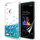Atump ZTE Blade Z Max Case,ZTE Blade Zmax Pro 2 Case,ZTE Sequoia Bling Case for Gilrs, [HD Screen Protector] Quicksand Liquid Clear Soft Rubber TPU Bumper Back Cases Cover for Z982 Blue